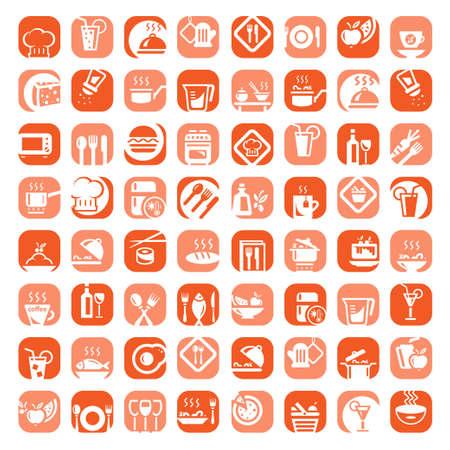 정크 푸드: 모바일, 웹 및 응용 프로그램에 대해 생성 큰 다채로운 주방 아이콘 세트