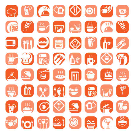 take out food: Big Colorful Kitchen Icons Set Created For Mobile, Web And Applications