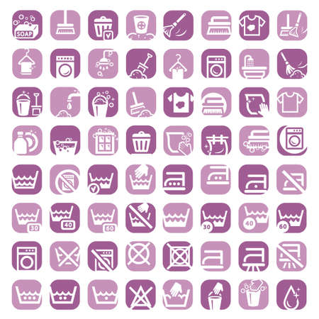 dry cleaner: 64 Colorful Clearning Icons Set Created For Mobile, Web And Applications