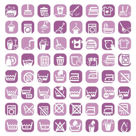 clothes washing: 64 iconos coloridos clearning conjunto creado para m�viles, web y aplicaciones