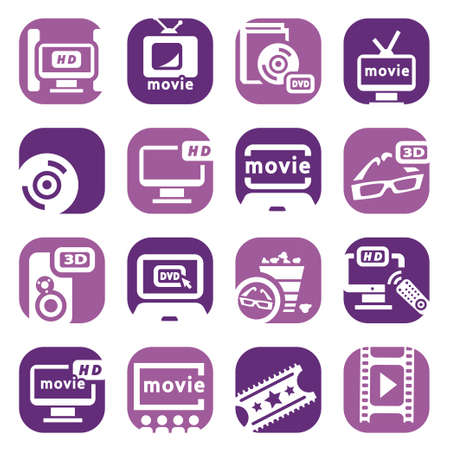 Elegant Colorful Movie Icons Set Created For Mobile, Web And Applications  Stock Vector - 18621304