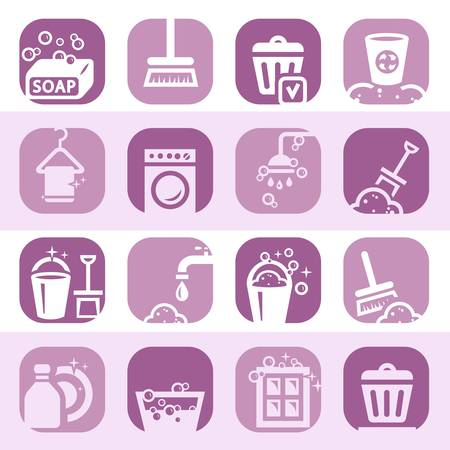 rubbish cart: Elegant Colorful Clearning Icons Set Created For Mobile, Web And Applications