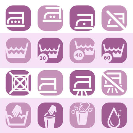Elegant Colorful Washing Icons Set Created For Mobile, Web And Applications  Vector