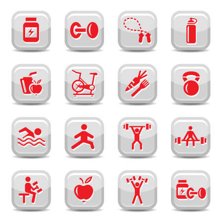 Bodybuilding And Fitness Icon Set for web and mobile. All elements are grouped. Illustration