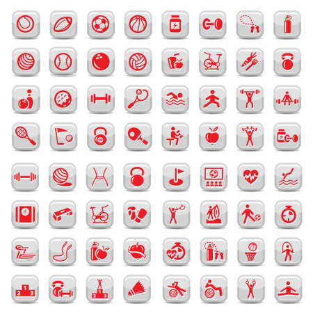 64 Fitness and Sport icons for web and mobile  All elements are grouped  Stock Illustratie