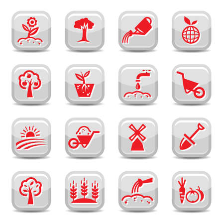 Gardening Icon Set for web and mobile. All elements are grouped. Vector