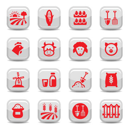 Farm Icon Set for web and mobile. All elements are grouped. Vector