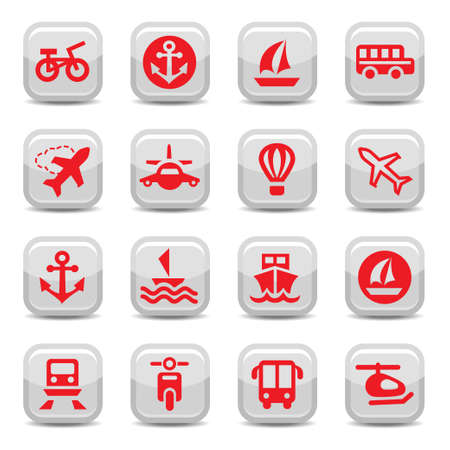 Transportation Icons Set for web and mobile. All elements are grouped. Vector