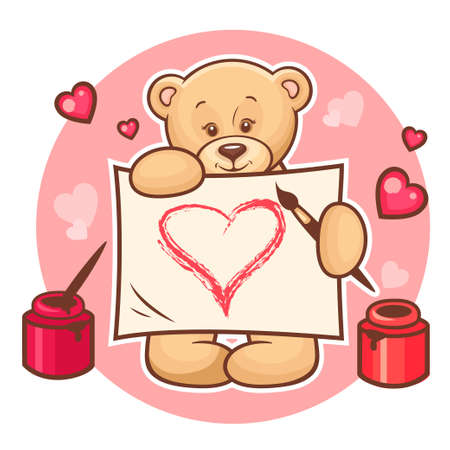 Illustration of Cute Valentine Teddy Bear with sign. Stock Vector - 18621435