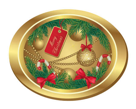 Illustration Of Christmas Frame With Fir Tree And Balls. Vector