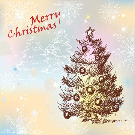 Hand Drawn Christmas Vintage Tree decorated with balls, for xmas design. Stock Vector - 18621442