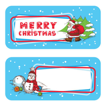 Christmas Season  Banner, Winter Labels With Snowman and Santa Claus. Stock Vector - 18621436