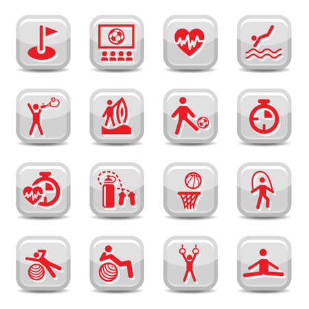 Fitness and Sport icon set for web and mobile  All elements are grouped  Vector