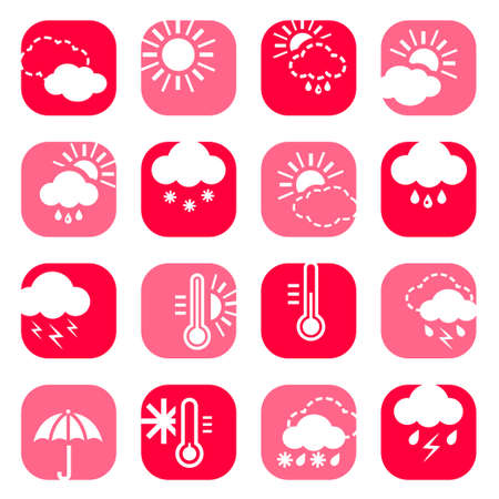 Elegant Colorful Weather Icons Set Created For Mobile, Web And Applications  Stock Vector - 18621320