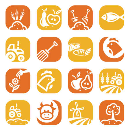 cultivated land: Elegant Agriculture Icons Set Created For Mobile, Web And Applications