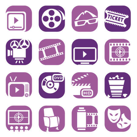 cinema screen: Color Cinema Icons Set Created For Mobile, Web And Applications  Illustration