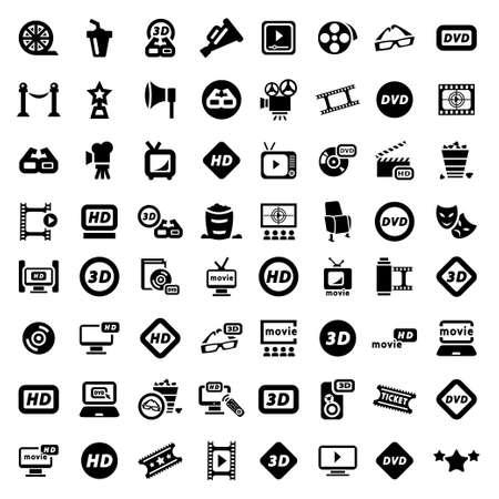 Big Elegante Movie Icons Set Erstellt For Mobile, Web und Anwendungen
