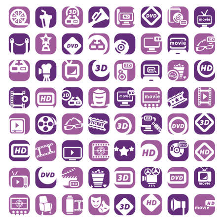 64 Color Movie Icons Set Created For Mobile, Web And Applications  Vector