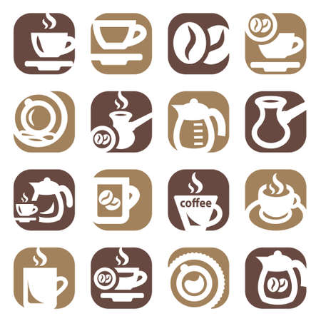 Color Coffee Icons Set Created For Mobile, Web And Applications  矢量图像