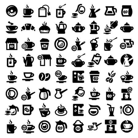 cold coffee: Big Coffee And Tea Icons Set Created For Mobile, Web And Applications