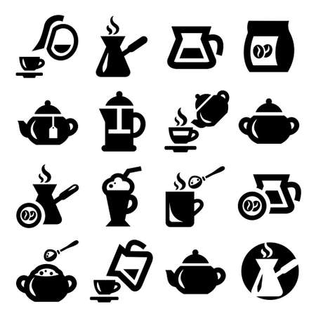 Elegant Coffee And Tea Icons Set Created For Mobile, Web And Applications  矢量图像