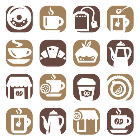 cold coffee: Color Coffee And Tea Icons Set Created For Mobile, Web And Applications  Illustration