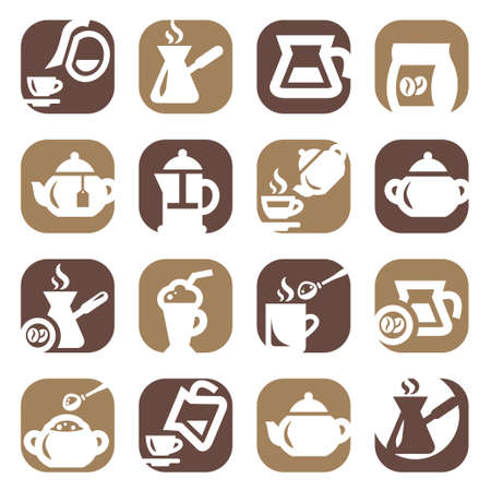 Color Coffee And Tea Icons Set Created For Mobile, Web And Applications  矢量图像