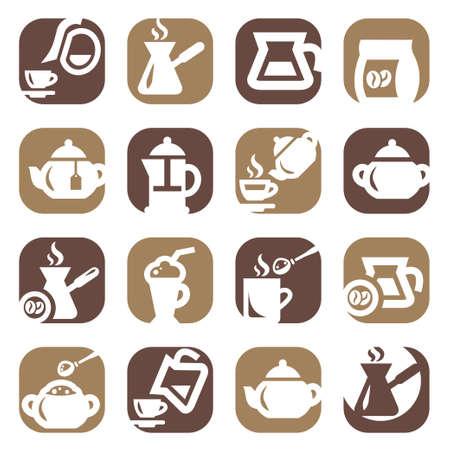 Farbe Kaffee und Tee Icons Set für Mobile, Web und Anwendungen Erstellt