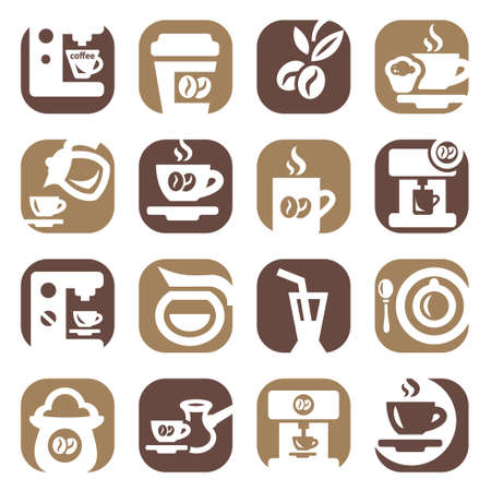 chicchi di caff�: Colore Coffee Icons Set creato per cellulare, web e applicazioni
