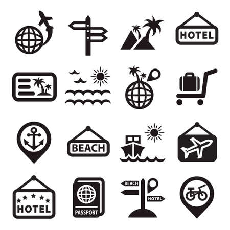 Elegant Travel Icons Set Created For Mobile, Web And Applications  Vector