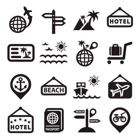 air travel: Eleganti Icone di viaggio creato per cellulare, web e applicazioni