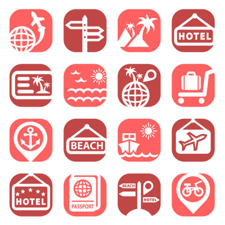 simplus: Color Travel Icons Set Created For Mobile, Web And Applications  Illustration