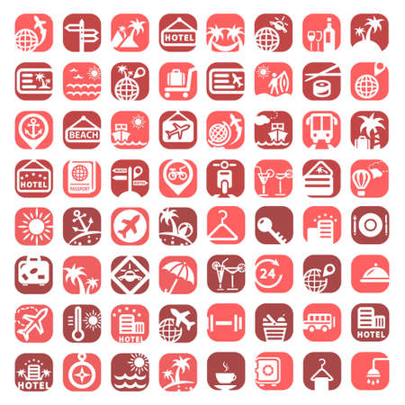 hotel icons: Big Color Travel Icons Set Created For Mobile, Web And Applications