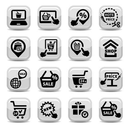 utworzonych: Zakupy ikon wektorowych Zestaw Stworzony dla mobilnych, internetowych i aplikacji Ilustracja