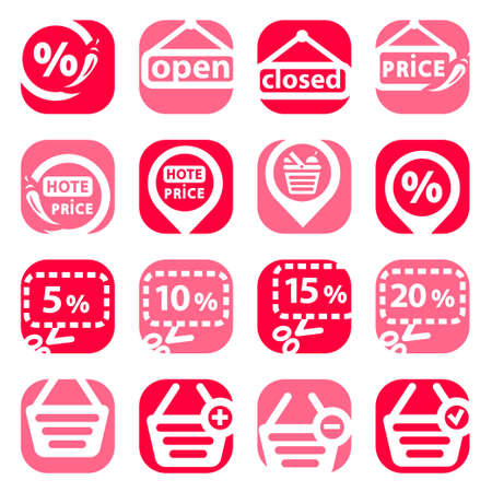 Color Shopping Icons Set Created For Mobile, Web And Applications Stock Vector - 19797335