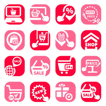Color Shopping Vector Icons Set Created For Mobile, Web And Applications Stock Vector - 19797334