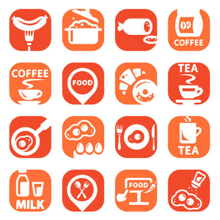 continental food: Color Food Vector Icons Set Created For Mobile, Web And Applications  Illustration