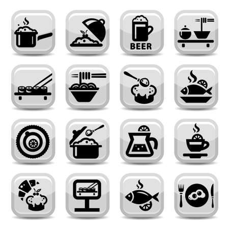 Elegant Food Vector Icon Set Created For Mobile, Web And Applications  Vector