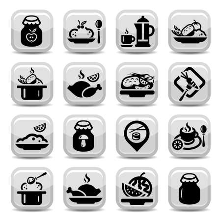Elegant Food Vector Icons Set Created For Mobile, Web And Applications  Illustration