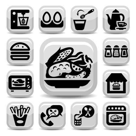 continental food: Elegant Food Vector Icons Set Created For Mobile, Web And Applications  Illustration