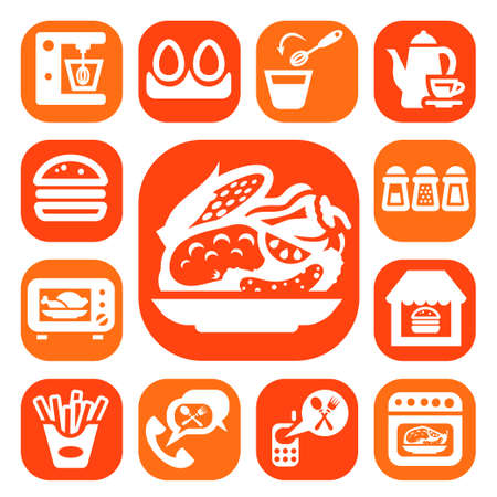 continental food: Color Food And Kitchen Icons Set Created For Mobile, Web And Applications
