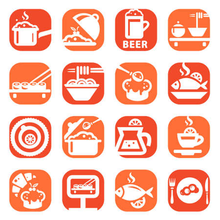 dining out: Color Food And Kitchen Icons Set Created For Mobile, Web And Applications