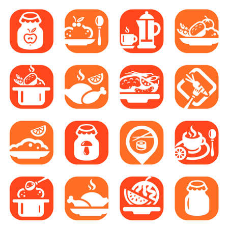 Color Food Vector Icons Set Created For Mobile, Web And Applications  Vector