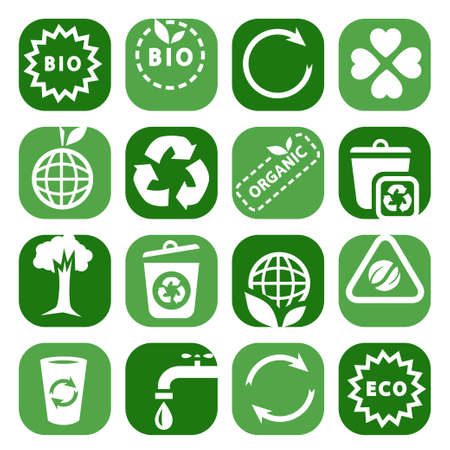 Color Environmental Icons Set Created For Mobile, Web And Applications  Vector