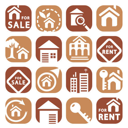 apartment building: Color Building Icons Set Created For Mobile, Web And Applications  Illustration