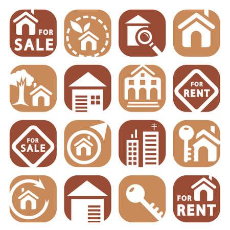 Farbe Gebäude Icons Set Geschaffen für Mobile, Web und Anwendungen