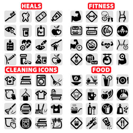 Elegant Vector Fitness, Health, Food And Clearning Icons Set
