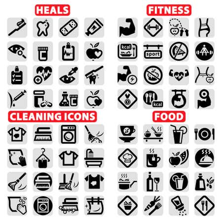 domestiÑ: Elegante Vector fitness, salud, alimentación y Clearning Icons Set Vectores