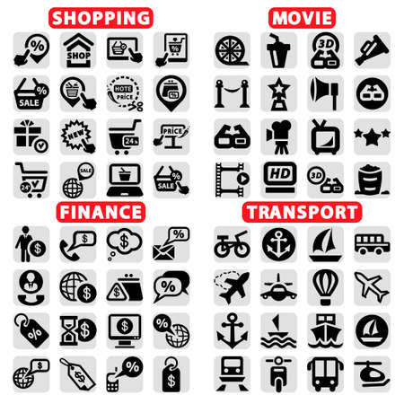 bank cart: Elegant Vector Cinema, Shopping, Finance And Transportation Icons Set  Illustration