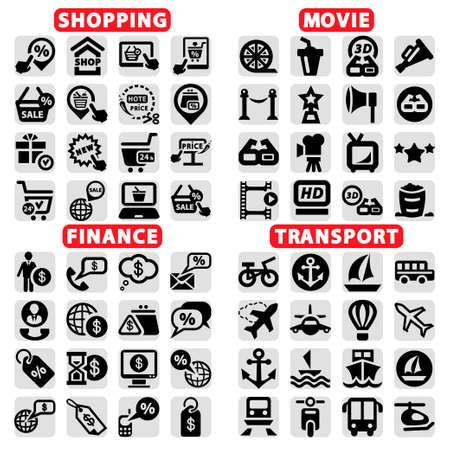 economia: Elegante Vector Cine, Compras, Finanzas y Transporte Icons Set